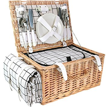 Picnic Set Black-White Grid