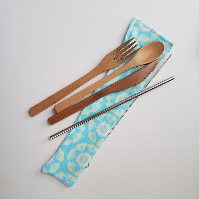 Bamboo Utensils w/ SS Straw