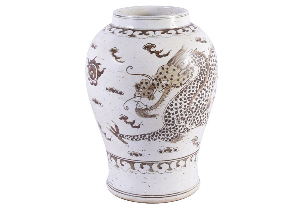HONG WU DRAGON MOTIF FLARING RIM JAR