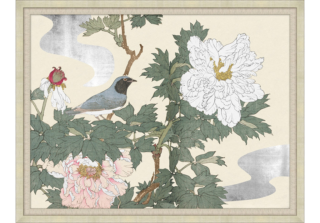NEW EASTERN BLUE BIRD AND PEONIES