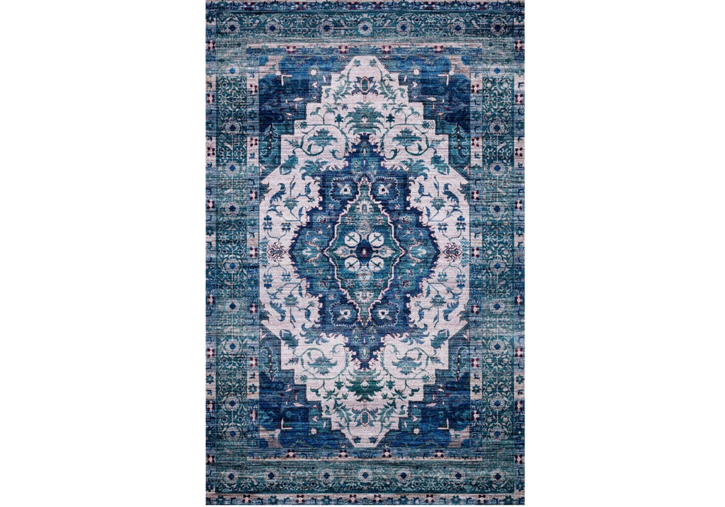 CIELO IVORY & TURQUOISE RUG