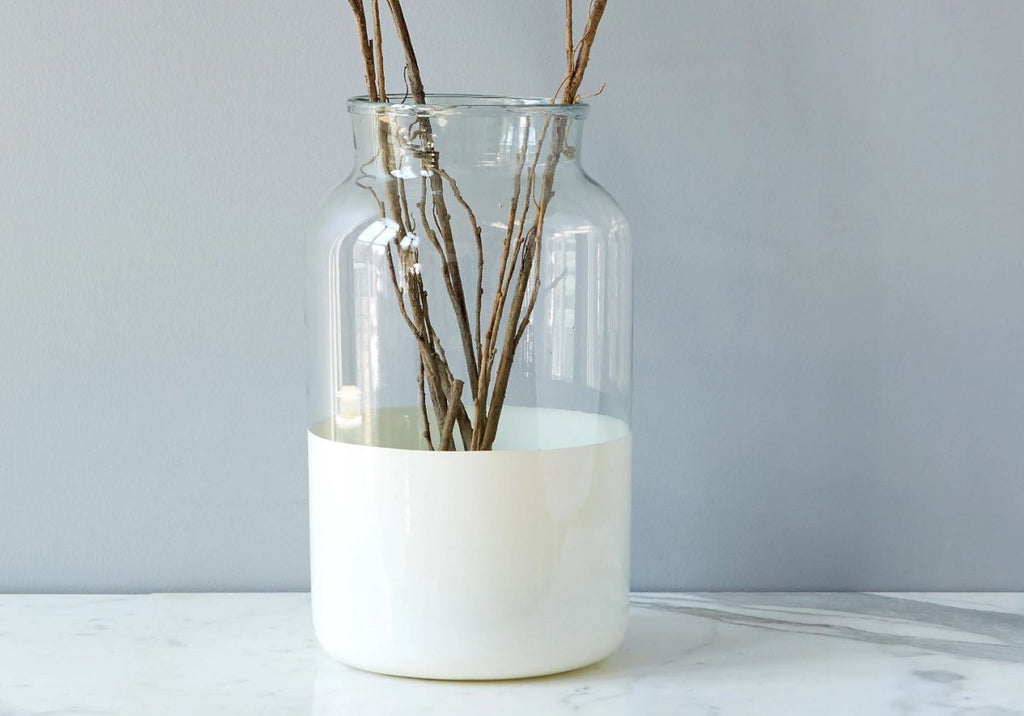 WHITE COLOR BLOCK MASON JAR