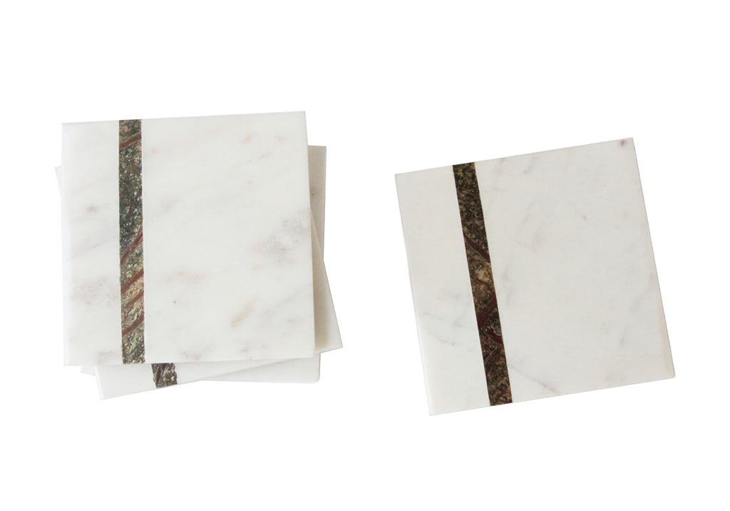WHITE MARBLE COASTERS | SET OF 4