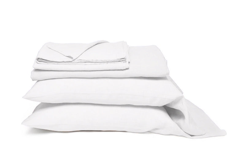 SANTIAGO WHITE LINEN SHEET SET