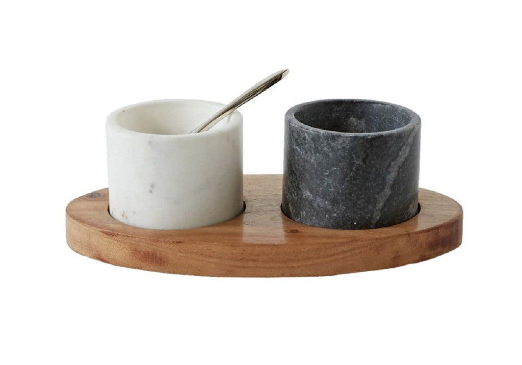 MARBLE BOWLS WITH MANGO WOOD TRAY