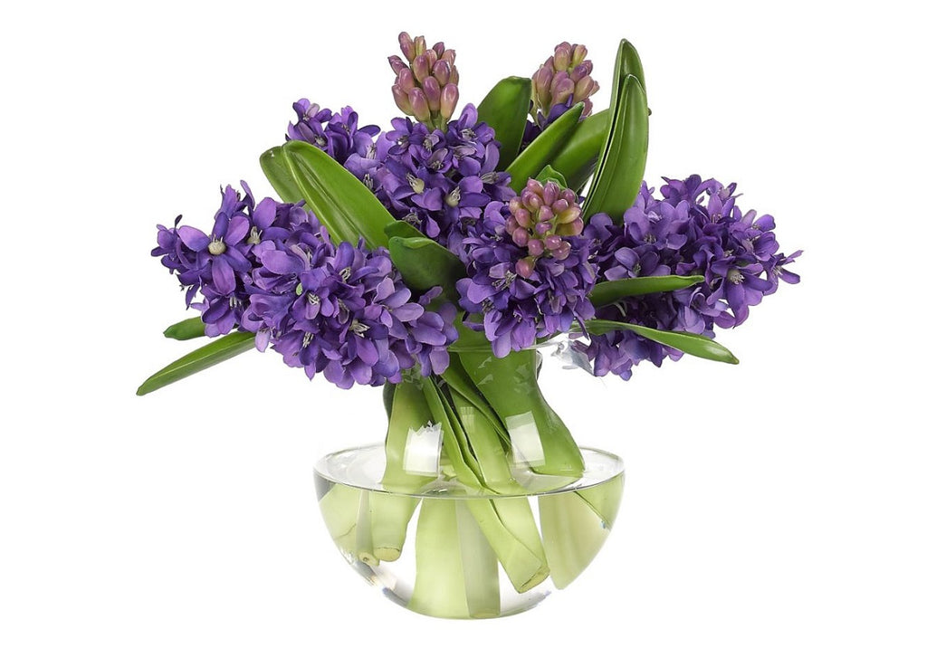 PURPLE HYACINTH IN GLASS BUBBLE