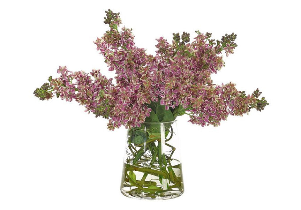 LILAC IN GLASS PYRAMID VASE