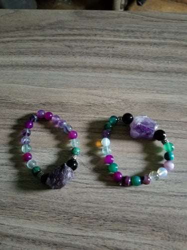 Handcrafted Raw Amethyst Crystal Beaded Bracelet