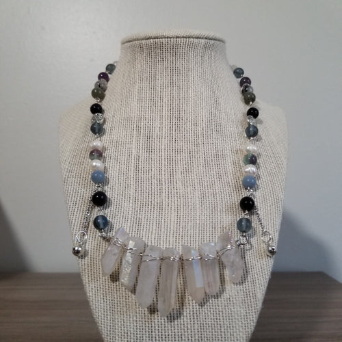 Handcrafted Milky Treated Quartz Crystal Princess Necklace