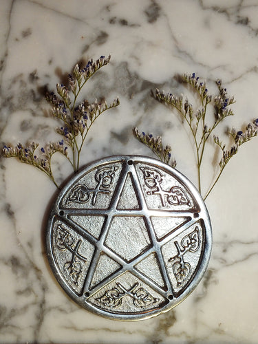Aluminum Altar Plate/ Pentagram 5 hole incense holder