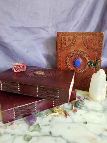 Leather Bound Journal with Stone and Latch /blank