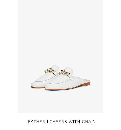 LEATHER LOAFERS WITH CHAIN - WHITE