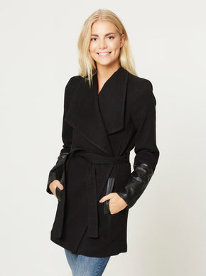 LONG COAT WITH FAUX-LEATHER DETAIL