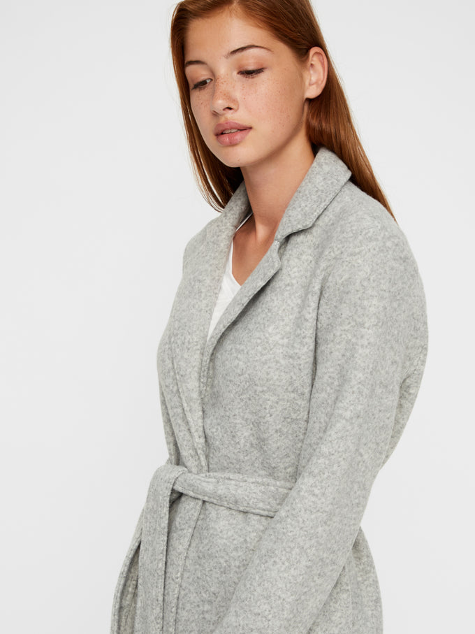 NINA BELTED BRUSHED COAT Light Grey Melange