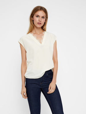 RECYCLED-POLYESTER V-NECK BLOUSE