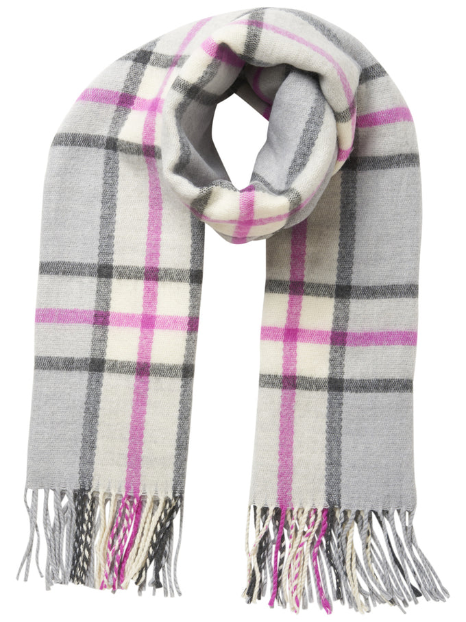 CHECKERED SCARF Light Grey Melange