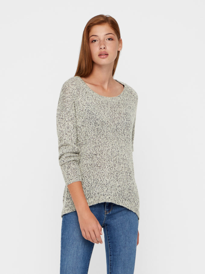 CLASSIC TWO-TONE SWEATER Light Grey Melange
