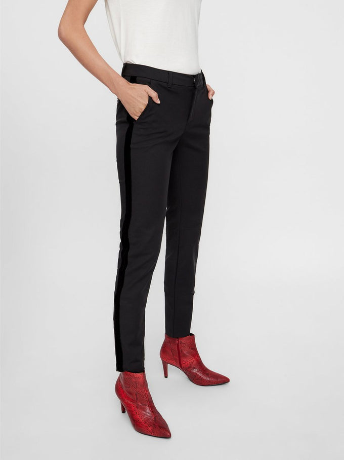 DRESS PANTS WITH VELVET BANDS Black