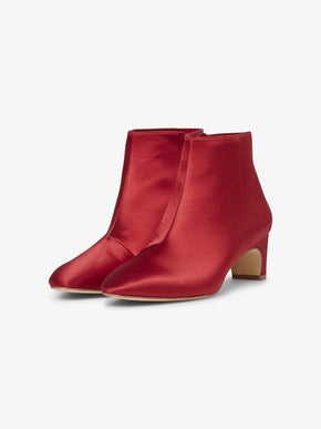 RED SATIN BOOTS