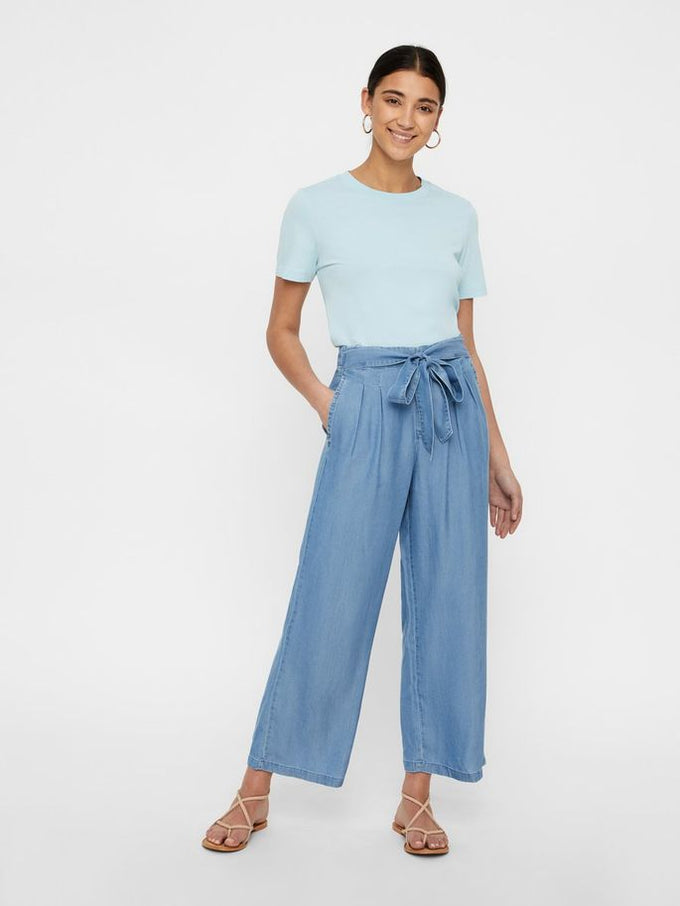 LYOCELL WIDE LEG PANTS Light Blue Denim