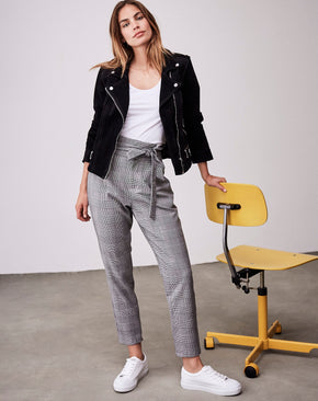 EVA PAPER-BAG PLAID PANTS WITH BELT