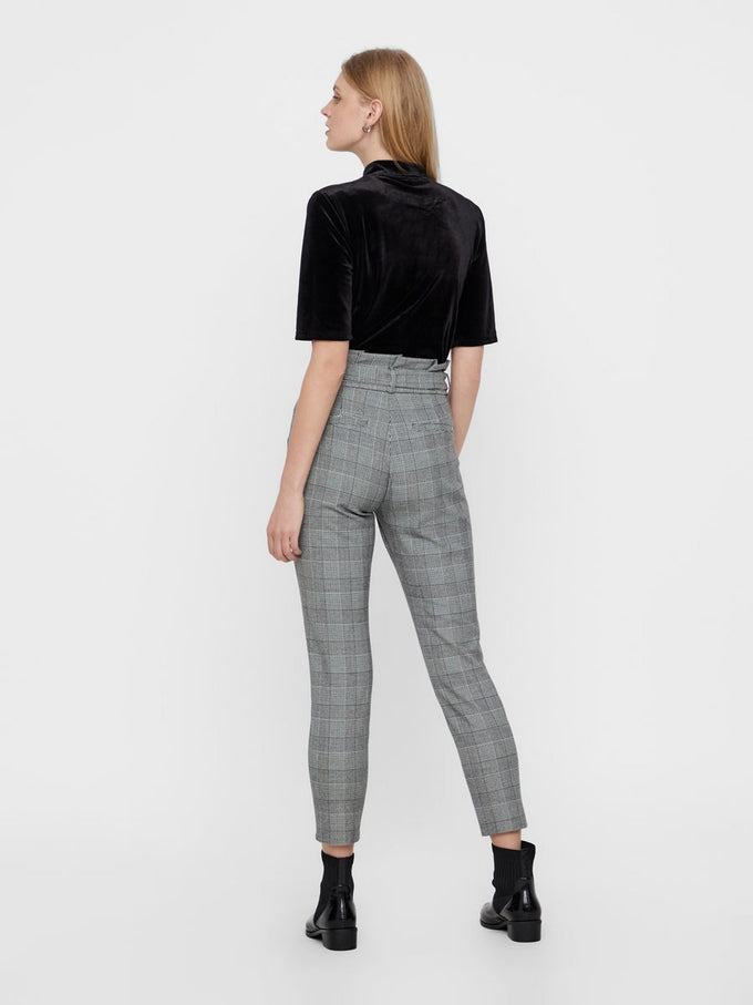CHECKERED PAPER-BAG PANTS Grey