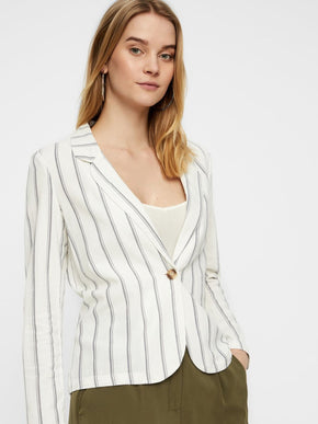 LINEN-BLEND STRIPED BLAZER