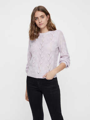 LILAC BALLOON SLEEVE SWEATER