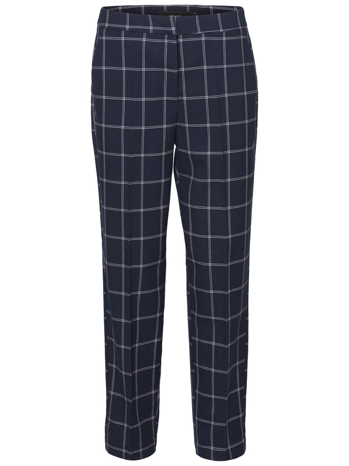CHECKERED ANKLE PANTS Night Sky