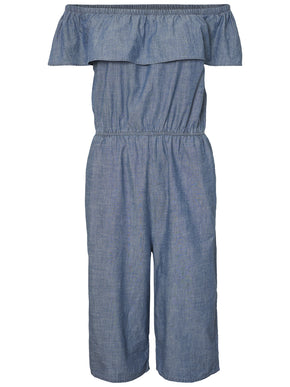 OFF-THE-SHOULDER CHAMBRAY JUMPSUIT