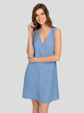 BUTTON-UP LYOCELL DRESS