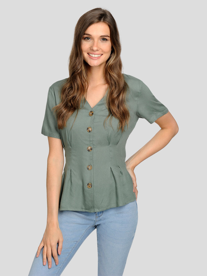 CUTE BUTTON-UP BLOUSE Laurel Wreath