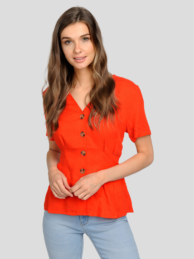 CUTE BUTTON-UP BLOUSE Fiery Red