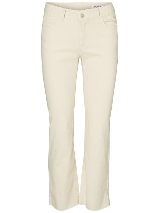 VMSHEILA RECYCLED-COTTON FLARE JEANS Ecru
