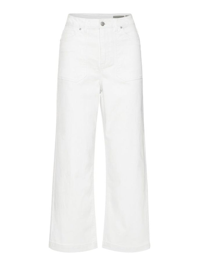 VMKATHIE WIDE LEG CROPPED WHITE JEANS Snow White