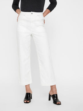 VMKATHIE WIDE LEG CROPPED WHITE JEANS