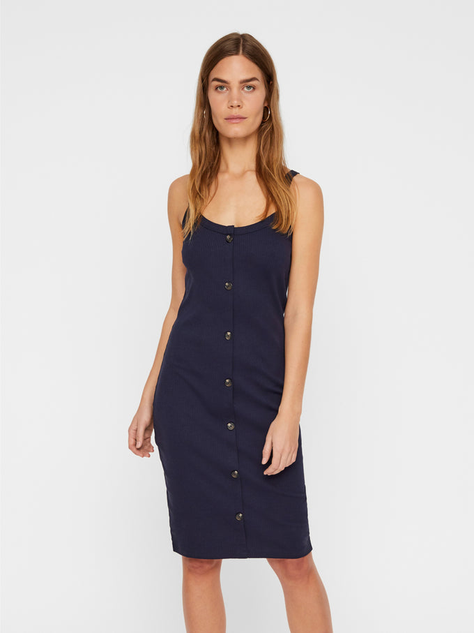 ORGANIC-COTTON RIBBED DRESS Night Sky