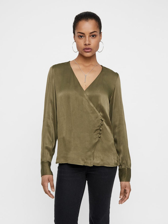 Long Sleeve Wrap Blouse Ivy Green