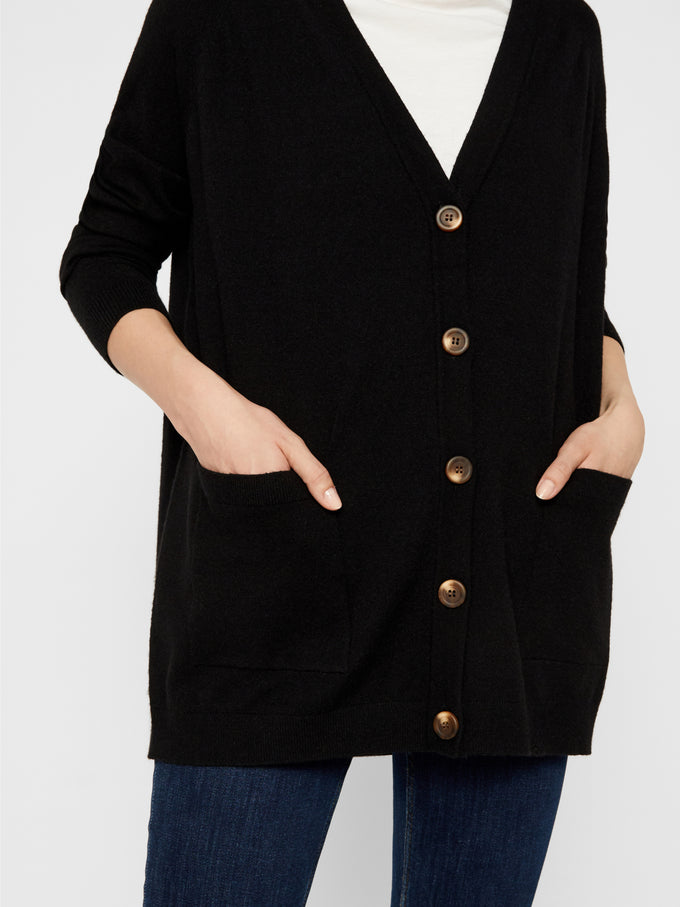 Button Cardigan With Pockets Black