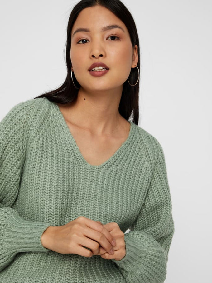 V-NECK SWEATER WITH BALLOON SLEEVES Jadeite
