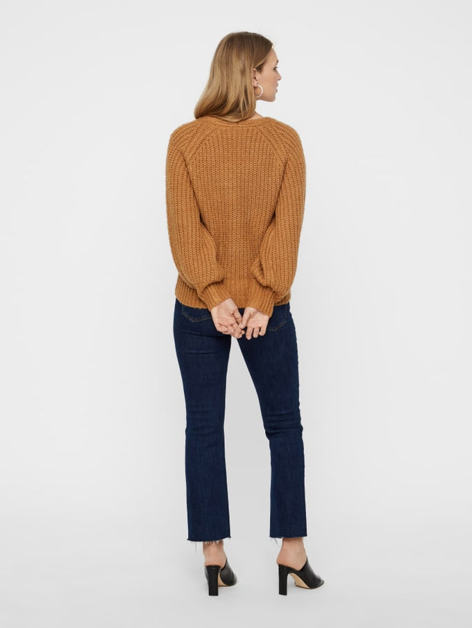 V-NECK SWEATER WITH BALLOON SLEEVES Tobacco Brown