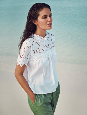 ORGANIC-COTTON LACE BLOUSE