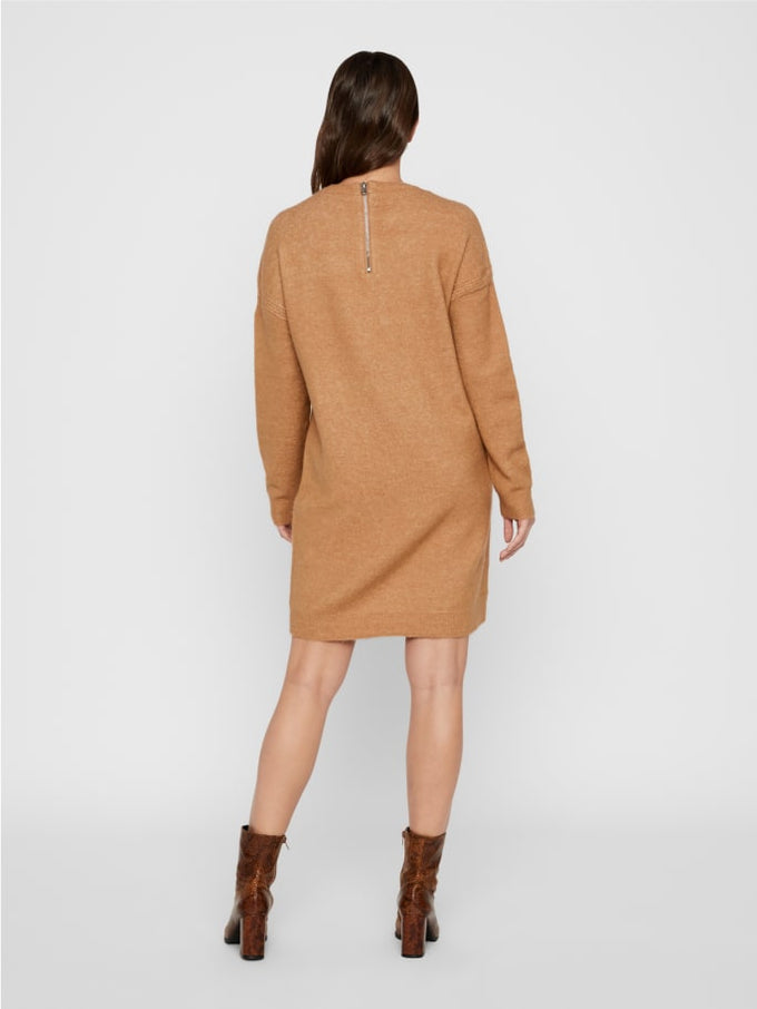 Sweater Dress With Back Zip Tobacco Brown