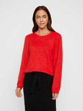 POILU LONG SLEEVE KEYHOLE ROUND NECK SWEATER