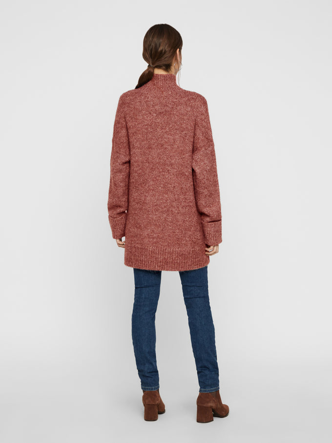High Neck Long Sweater Madder Brown