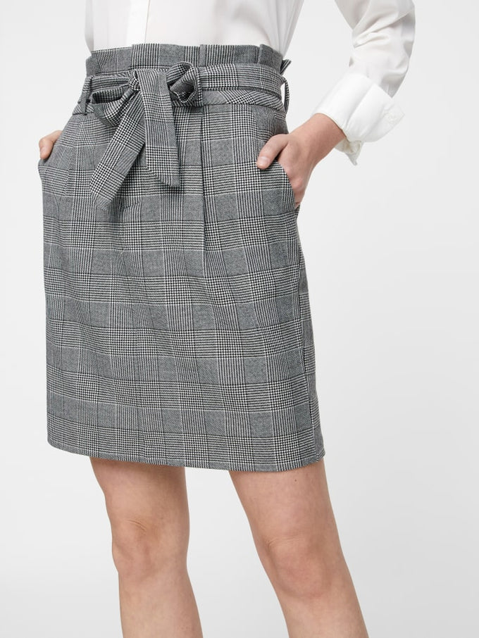 Gingham Check Paper Bag Mini Skirt Womens High Waist Button Pocket Skirts