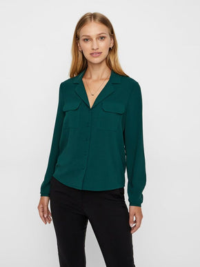 Button Down Blouse With Pockets