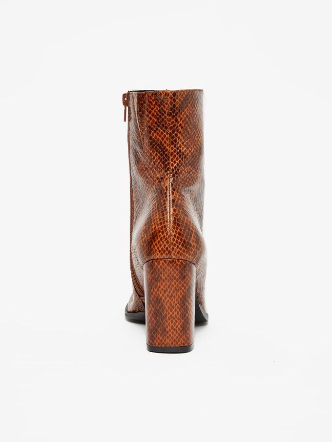 Snake Print Ankle Boots Cognac