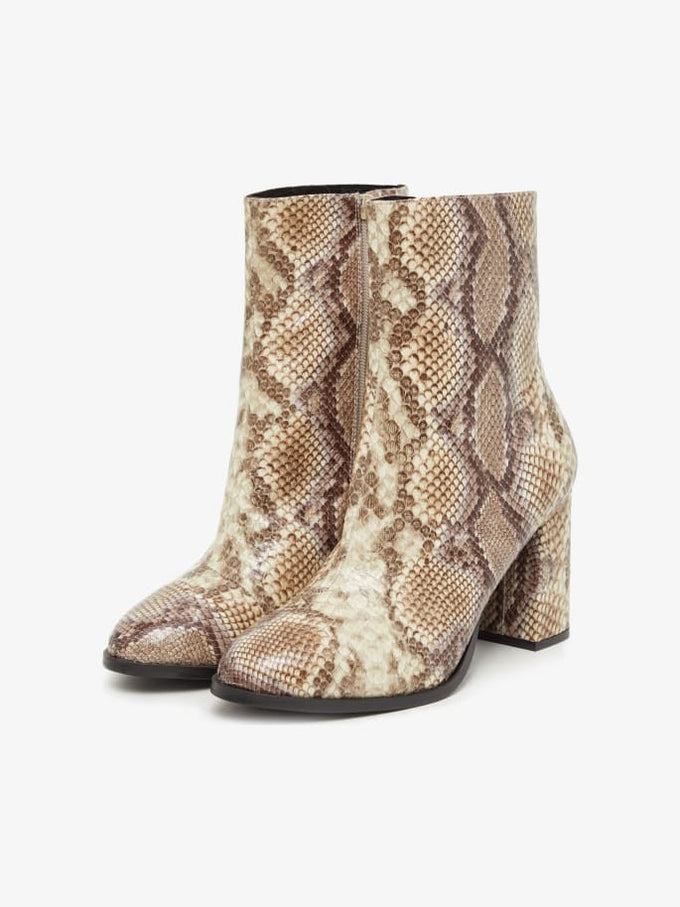 Snake Print Ankle Boots Silver Mink