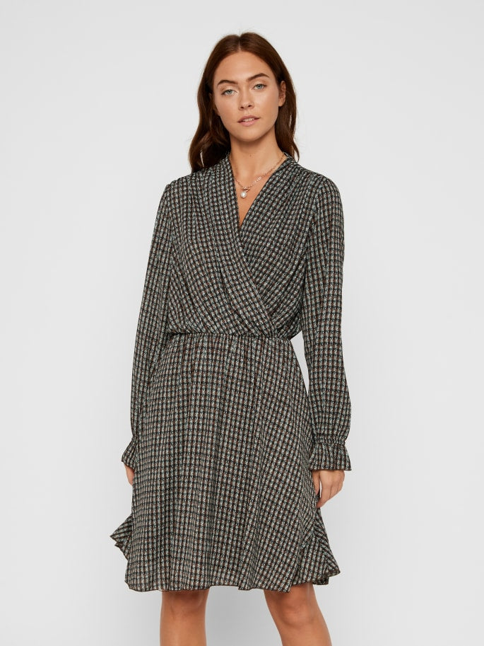 Aware Long Sleeve Printed Wrap Dress